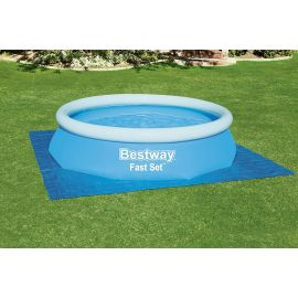 Tapis de sol carré bleue pour piscine 335 x 335 cm - BESTWAY - 58001 pas cher