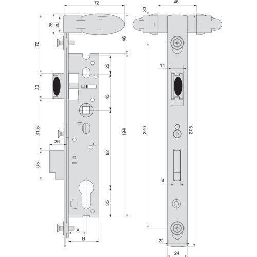 Serrure 1 points double manoeuvre pêne dormant demi-tour 39 mm pour portillon de piscine - STREMLER - 2268.39.0 pas cher Secondaire 1 L