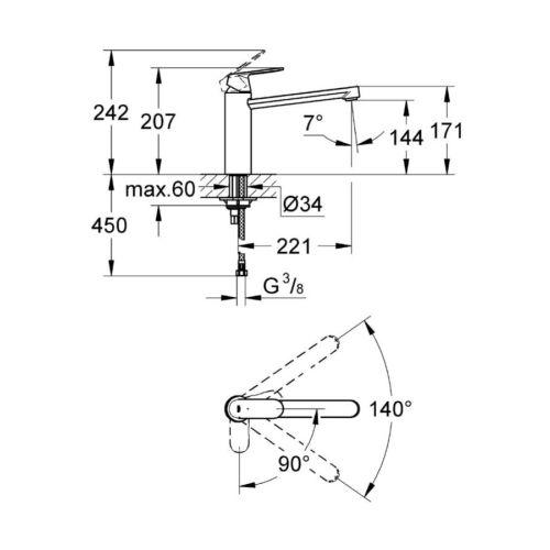 Mitigeur mono-commande évier EUROSMART COSMOPOLITAN photo du produit Secondaire 5 L