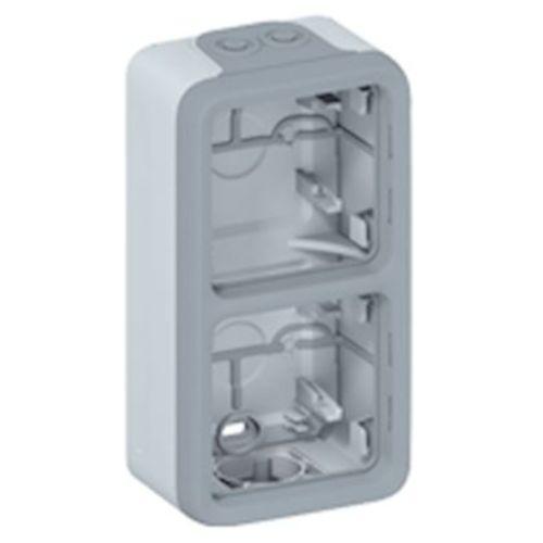Boîtier 2 postes gris double vertical PLEXO composable - LEGRAND - 069661 pas cher Principale L