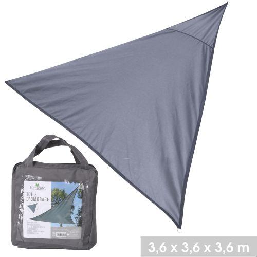 Toile d'ombrage triangle en polyester 3,6 x 3,6 x 3,6 m gris anthracite pas cher Principale L