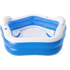 Piscine gonflable octogonale bleue avec sièges et appuie-têtes 213 x 206 x 69 cm - BESTWAY pas cher