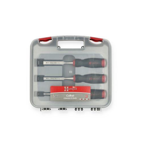 Coffret de 3 ciseaux à bois SPRO 10-15-20 mm - HANGER - 110490 pas cher