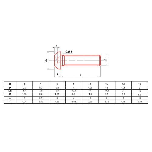 Vis à métaux Ultima tête bombée hexagonale creuse à embase brut classe 10.9 ISO 7380 photo du produit