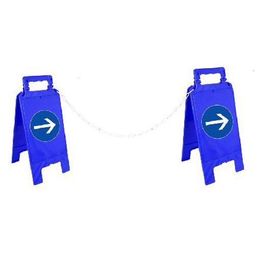 2 chevalets de signalisation rectangulaire 600 x 275 mm 'Sens obligatoire' avec chaîne de 5 m - NOVAP - 4292014 pas cher Principale L