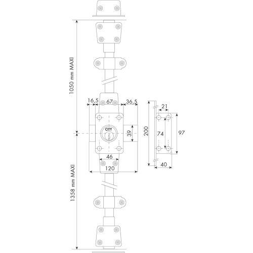 Verrou 3 points 1513 Zenith à double entrée cylindre de 45mm droit - ISEO - 15130451HB3.5 pas cher Secondaire 1 L
