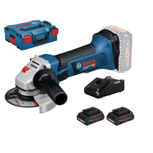 Meuleuse angulaire Bosch sans fil GWS 18-125 V-LI + 2 batteries ProCORE18V + chargeur GAL+ L-BOXX photo du produit