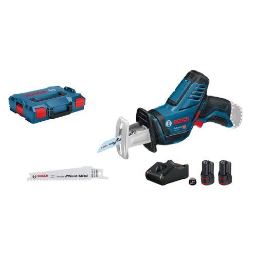 Scie sabre sans-fil Bosch GSA 12V-14 + 2 batteries GBA 12V + chargeur GAL 12V-40 + L-BOXX photo du produit