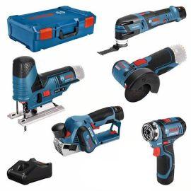 Pack de 5 outils sans-fil Bosch 12 V (GSR(FC)/GOP/GHO/GWS/GST) + 2 batteries 2 Ah + batterie 3 Ah pas cher