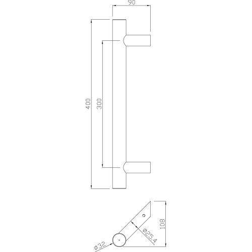 Poignée tubulaire inox Héraclès - Série 5040 pas cher Secondaire 1 L