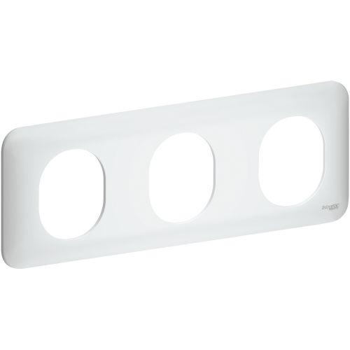 Plaque OVALIS 3 postes horizontal 71mm blanc - SCHNEIDER ELECTRIC - S260706 pas cher Principale L