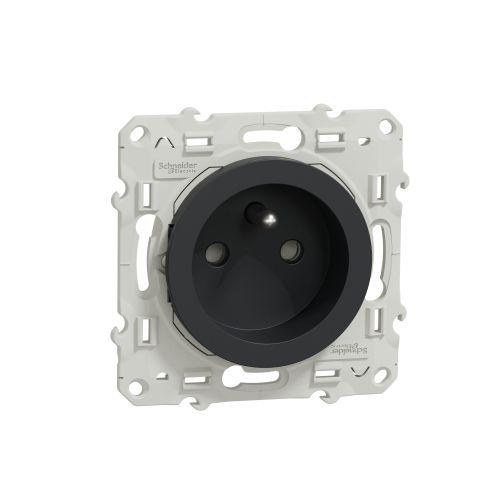 Prise de courant 2P+T anthracite ODACE - SCHNEIDER ELECTRIC - S540059 pas cher Principale L