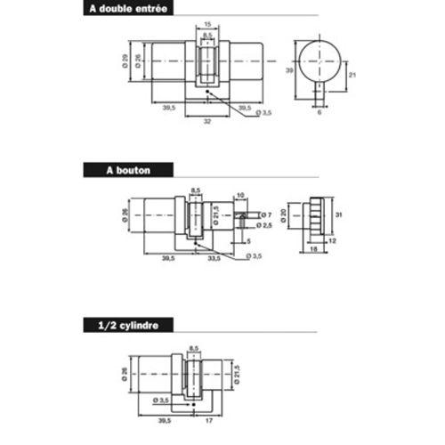 Cylindre SUPER-SURETE sans bille avec bouton 39.5x33.5 - BRICARD - 714000 pas cher Secondaire 1 L