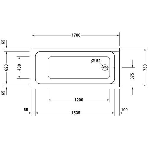 Baignoire D-CODE écoulement latéral DURAVIT photo du produit Secondaire 11 L