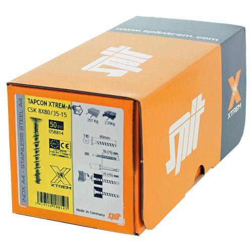Boîte de 50 vis béton Tapcon CSK XTREM inox A4 8x80/35-15 à tête fraisée - SPIT - 058814 pas cher Secondaire 4 L
