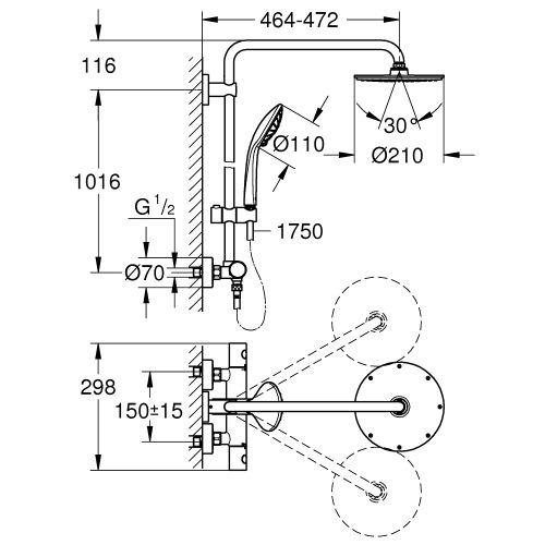 Colonne de douche Euphoria System 210 avec mitigeur thermostatique - GROHE - 27964000 pas cher Secondaire 1 L