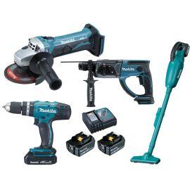 Pack 4 outils sans-fil Makita 18 V (DHP453 + DGA452 + DHR202 + DCL180) + 2 batteries 3 Ah + chargeur pas cher