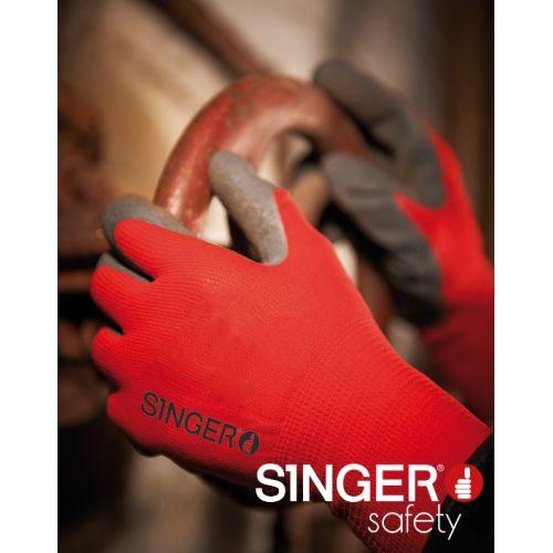Gants de travail latex gris nylon rouge Singer NYM15LG photo du produit Secondaire 1 L