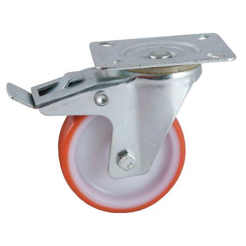 Roulette 100mm polyuréthane rouge platine pivotante avec frein - AVL - 504842O pas cher Principale L