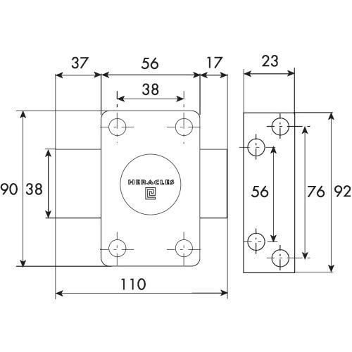 Verrou à bouton cylindre de 35 mm - HERACLES - 10020351HE pas cher Secondaire 2 L