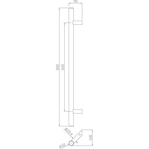 Poignée tubulaire inox Héraclès - Série 5040 pas cher Secondaire 3 L