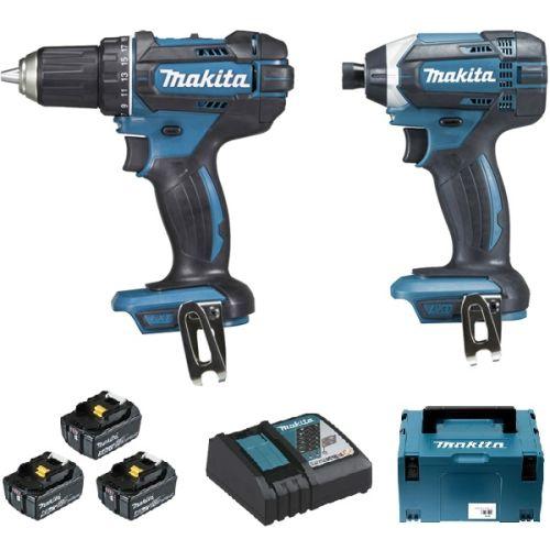 Pack 2 outils sans fil 18 V Makita DLX2127TJ1 (DDF482 + DTD152) + 3 batteries 5 Ah+ chargeur photo du produit
