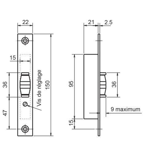 Serrure 1 point coffre 23/21 - METALUX - F123210000 pas cher Secondaire 1 L