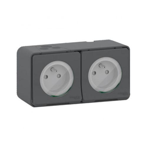 Double prise de courant horizontale étanche SCHNEIDER photo du produit