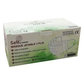 Boîte de 50 masques jetables 3 plis CE EN 14683 TYPE II R - SAFE BY HANGER - SF0405201C00 photo du produit
