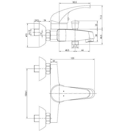 Mitigeur bain / douche entraxe 150 NOVA - GARIS - R01-11005CR pas cher Secondaire 1 L