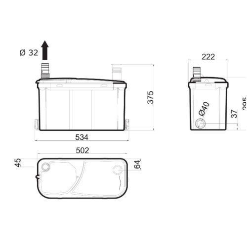 Pompe de relevage sanitaire Watermatic VD120 photo du produit Secondaire 2 L
