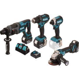 Pack 4 outils sans fil Makita DLX4080TX1 (DGA - DDF - DHR - DTD) + 3 batteries 5 Ah + chargeur pas cher