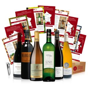 A box of six special French wines