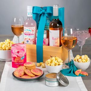 Rosé & Margarita Mix Paired with Delicious Snacks and a Candle