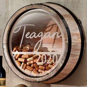 Personalized Reclaimed Wine Barrel Head Cork Display