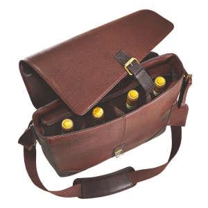 Four-Bottle Leather Messenger Wine Bag