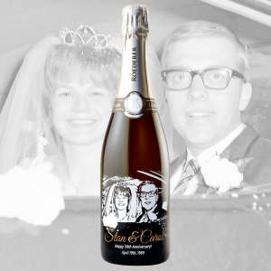 Custom Etched Sparkling Wine Bottle with Photo