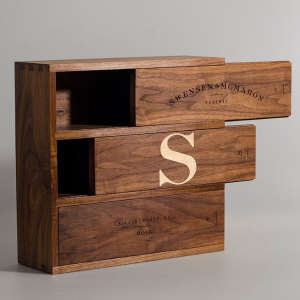 Exquisite Handcrafted Monogrammed Walnut Wine Box