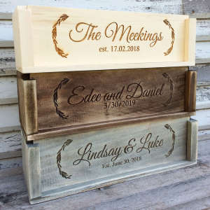 Handcrafted Personalized Wood Wine Crate for One Bottle