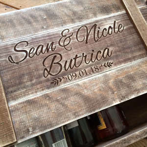 Handcrafted Personalized Wood Wine Crate for Six Bottles