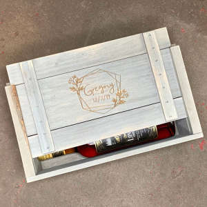 Handcrafted Personalized Wood Wine Crate for Two Bottles