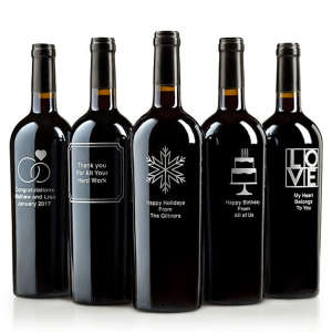 Personalized Etched Bottle of Red Wine