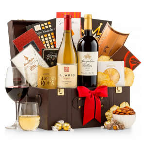 Elegant Wine Gift Basket with Red and White Wine
