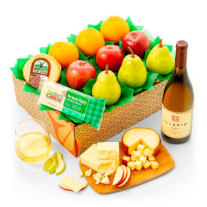 Wine & Cheese Gift with Fresh Fruit