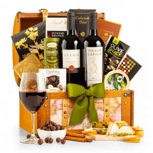 Red Wine Gift Basket with Snacks in a Chest