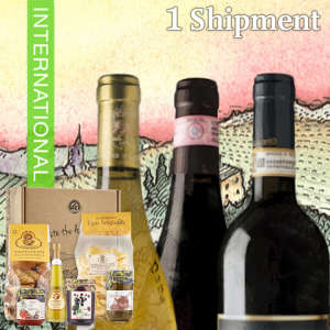 Three Bottles of International Wine & Gourmet Gift Box