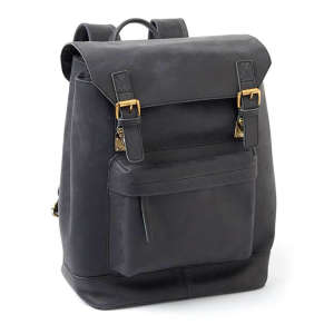Two-Bottle Leather Wine Backpack in Black