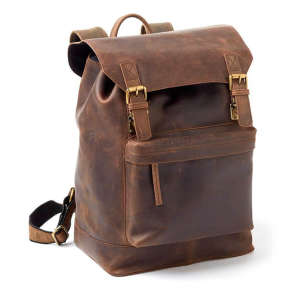 Two-Bottle Leather Wine Backpack in Brown