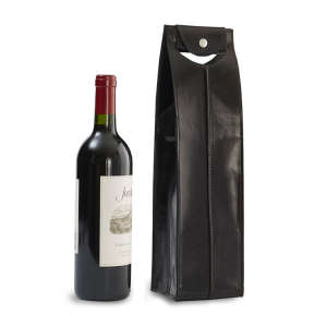 One-Bottle Leather Wine Bag in Black