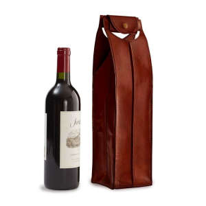 One-Bottle Leather Wine Bag in Brown